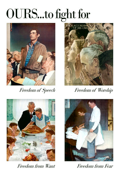 The 4 Freedoms by Norman Rockwell Art Print Poster 12x18 inch
