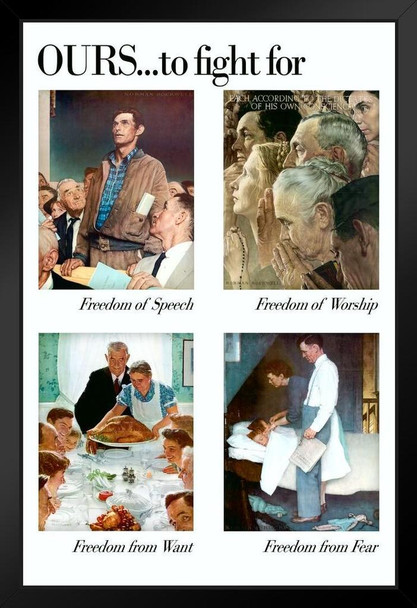 The 4 Freedoms by Norman Rockwell Art Print Framed Poster 14x20 inch