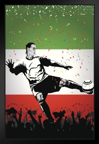 Italy Soccer Player Sports Black Wood Framed Poster 14x20