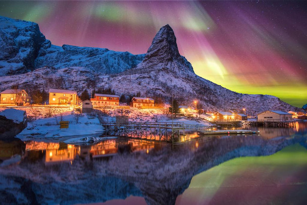 Aurora Borealis Above Snowy Islands of Lofoten Photo Art Print Cool Huge Large Giant Poster Art 54x36