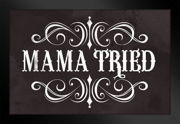 Mama Tried Retro Country Music Framed Poster 14x20 inch