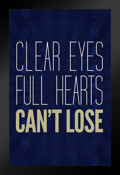Clear Eyes Full Hearts Cant Lose Motivational Framed Poster 14x20 inch