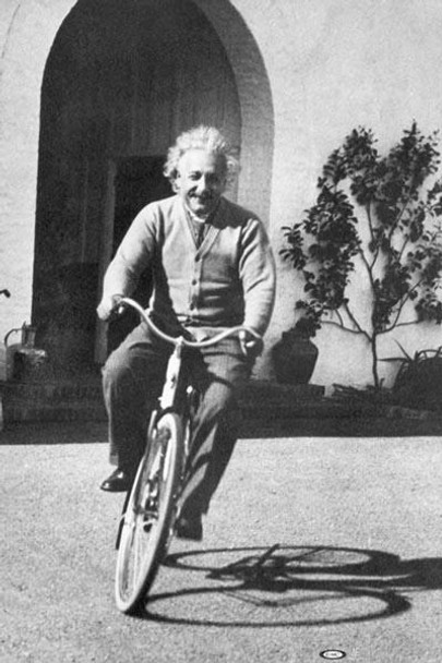 Albert Einstein Riding Bike Photo Poster 24x36 inch