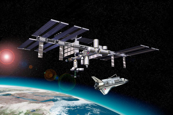 International Space Station and Shuttle Art Print Cool Huge Large Giant Poster Art 54x36