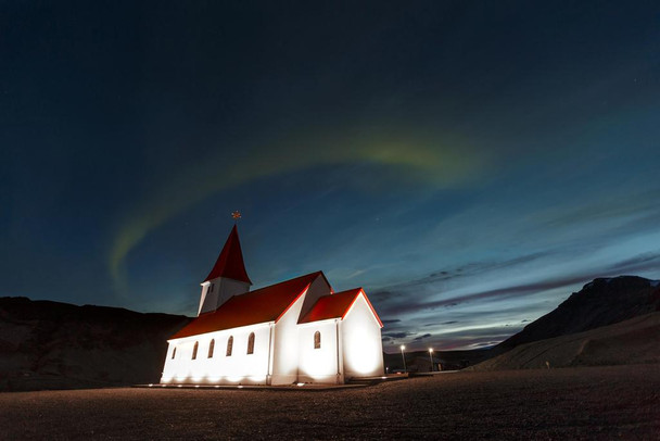 Aurora Borealis Above Rural Church with Red Roof in Vik Iceland Photo Art Print Cool Huge Large Giant Poster Art 54x36