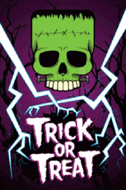 Trick or Treat Halloween Decoration Glow in the Dark Poster 36x24 inch