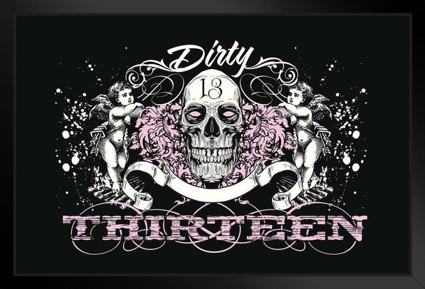 Dirty Thirteen Skull and Cherubs Art Print Framed Poster 20x14 inch