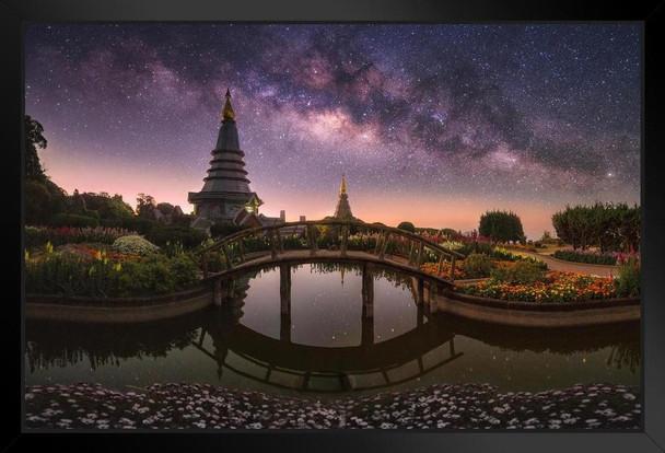 Twin Royal Pagodas Phra Mahathat Naphamethanidon Photo Art Print Framed Poster 20x14 inch