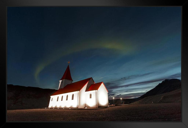 Aurora Borealis Above Rural Church with Red Roof in Vik Iceland Photo Art Print Black Wood Framed Poster 20x14
