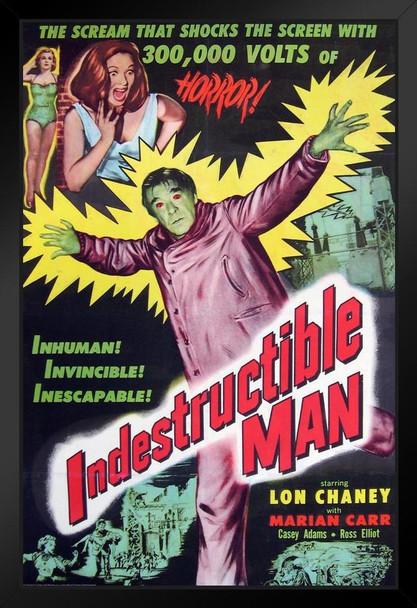 Indestructible Man Lon Chaney Jr Movie Framed Poster 14x20 inch