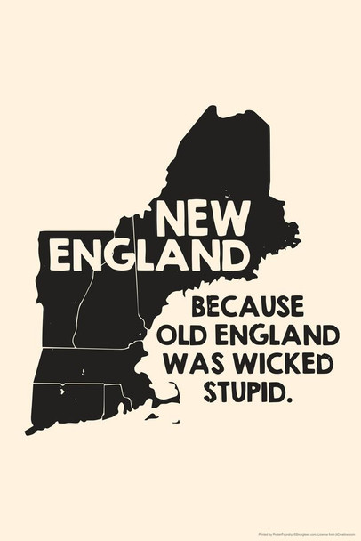 Laminated New England Because Old England Was Wicked Stupid Funny Sign Poster 12x18 inch