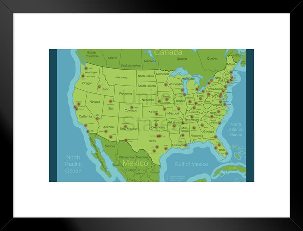 United States Major Cities Map Classroom Reference Art Print Matted Framed  Wall Art 26x20 inch