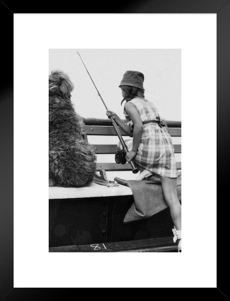 Casting Out Little Girl and Dog Fishing 1934 Black and White Photo Art  Print Matted Framed Wall Art 20x26 inch