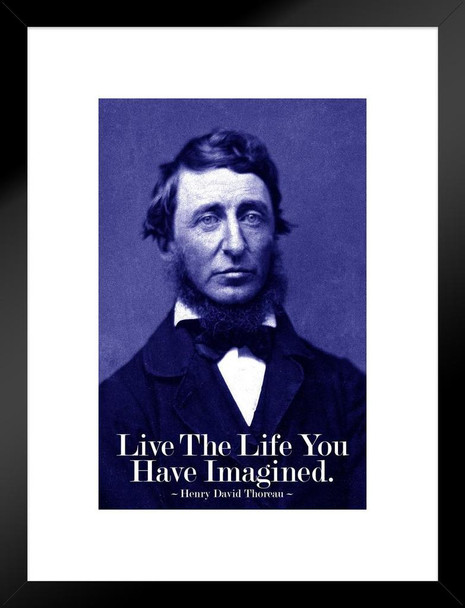 Henry David Thoreau Live The Life You Have Imagined Blue Matted Framed Art Print Wall Decor 20x26 inch