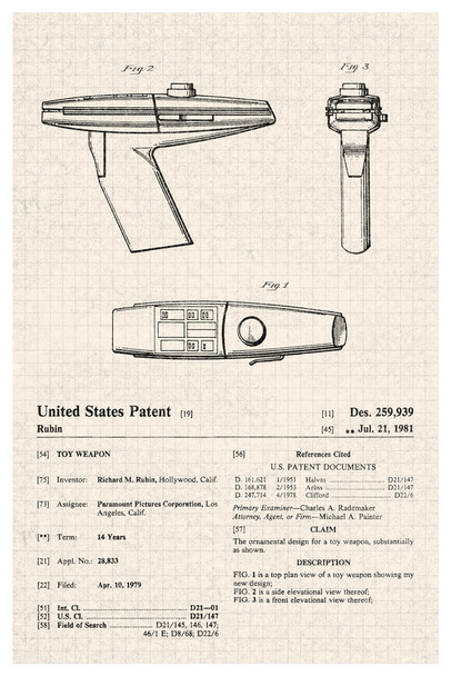 Phaser Movie Toy Official Patent Diagram Cool Wall Decor Art Print Poster 12x18