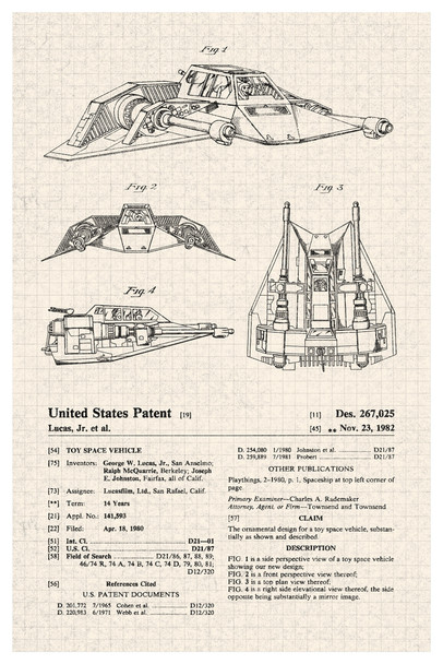 Toy Space Snow Vehicle Official Patent Diagram Cool Wall Decor Art Print Poster 12x18