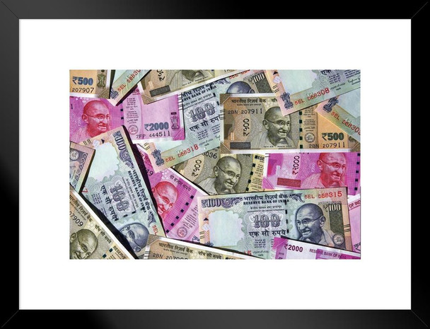 Indian Rupees Official Currency Republic of india Photo Art Print Matted Framed Wall Art 26x20 inch