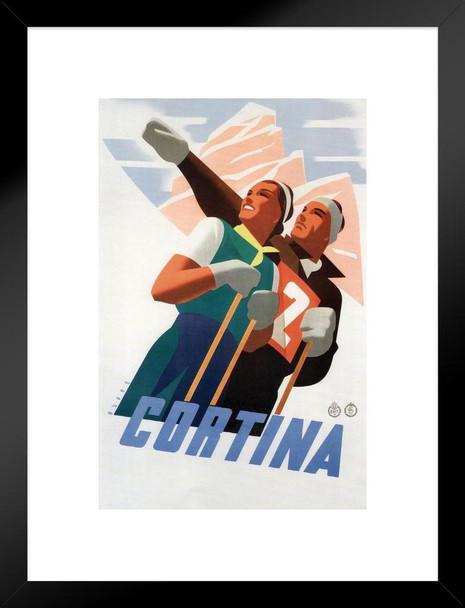 Ski Cortina D Ampezzo Vintage Travel Art Print Matted Framed Wall Art 20x26  inch