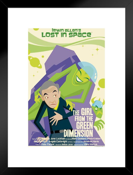 Lost In Space Girl From The Green Dimension by Juan Ortiz Variant Episode 45 of 83 Matted Framed Art Print Wall Decor 20x26 inch