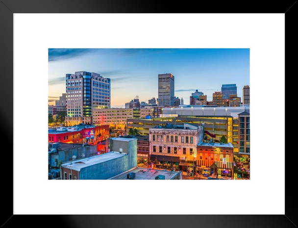 Memphis Tennessee Downtown Skyline with view of Beale Street Photo Art Print Matted Framed Wall Art 26x20 inch