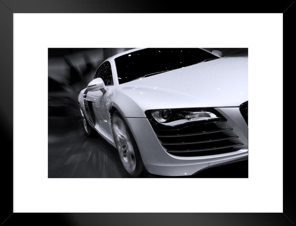 White Audi R8 Fast Car Moving with Motion Blur Photo Art Print Matted Framed Wall Art 26x20 inch