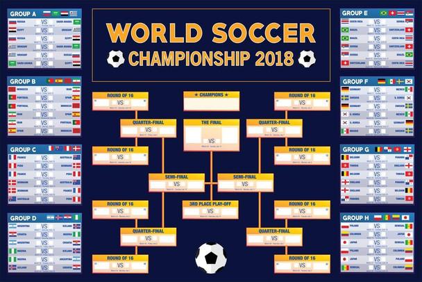 World Soccer Championship 2018 Wall Chart Poster 24x36 inch
