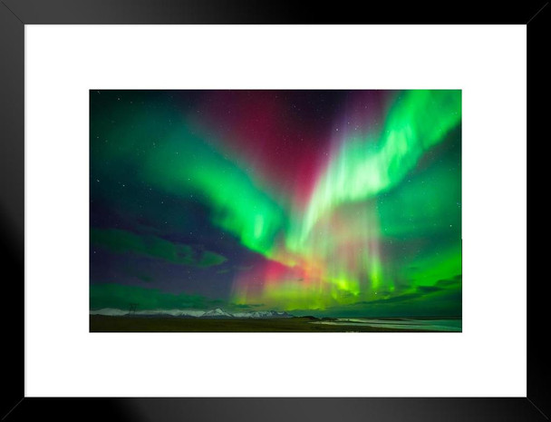 Aurora Borealis Northern Lights Over Iceland Photo Art Print Matted Framed Wall Art 20x26 inch