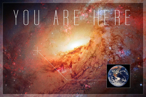 Laminated You Are Here Galaxy Landscape Funny Sign Poster 12x18 inch