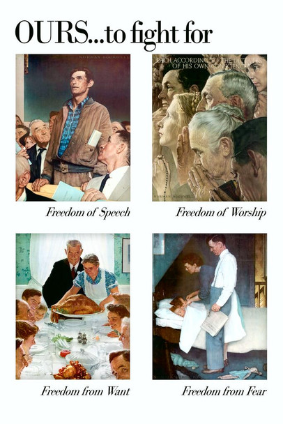 The 4 Freedoms by Norman Rockwell Stretched Canvas Art Print 16x24 inch