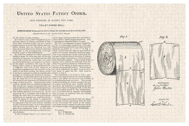 Toilet Paper Roll Official Patent Diagram Stretched Canvas Art Print 16x24 inch