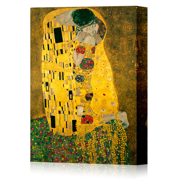 Gustav Klimt The Kiss 1908 Austrian Symbolist Art Nouveau Print Stretched Canvas 16x24 inch