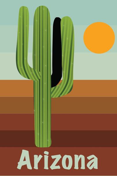 Laminated Retro Style Arizona and Saguaro National Park Travel Sign Poster 12x18 inch