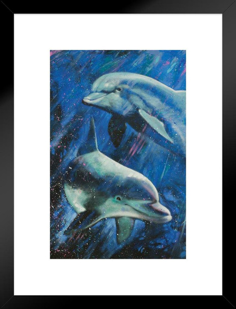 Life Aquatic Dolphins Swimming Painting by Stephen Fishwick Art Matted Framed Wall Art Print 20x26 inch