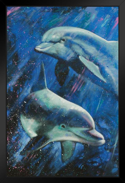 Life Aquatic Dolphins Swimming Painting by Stephen Fishwick Art Black Wood Framed Art Poster 14x20