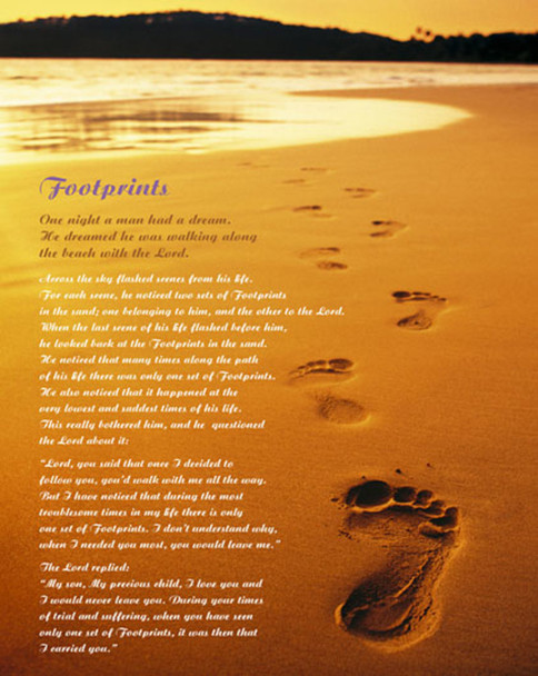 Footprints In The Sand Inspirational Poem Of Faith Quote Wall Art