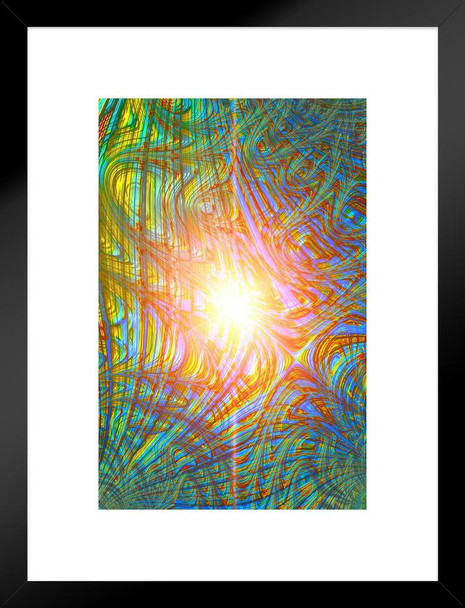 Colorful Abstract Pattern Sunburst Trippy Artwork Matted Framed Wall Art Print 20x26 inch