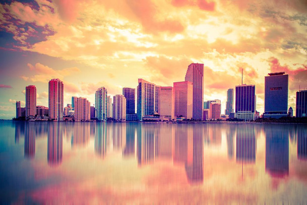 Laminated Miami Florida Biscayne Bay City Skyline Reflecting Water Photo Sign Poster 18x12 inch