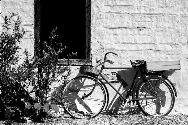 Old Bicycle Under Window Black And White Photo Art Print Poster 36x24 inch