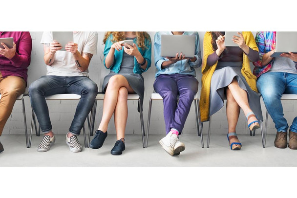 Laminated Friends Sitting In Chairs Connecting Digital Devices Technology Network Photo Sign Poster 18x12 Inch