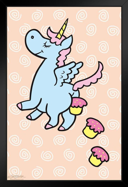 Jim Benton Unicorn Pooping Cupcakes Funny Framed Poster 14x20 inch Inch