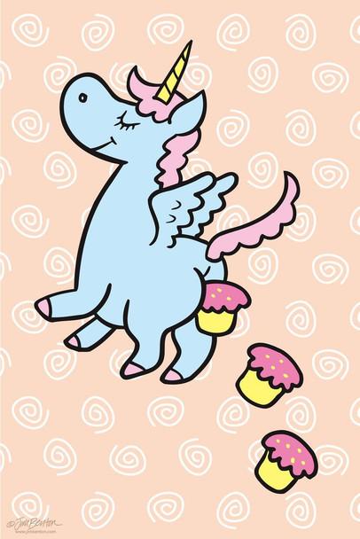Laminated Jim Benton Unicorn Pooping Cupcakes Funny Sign Poster 12x18 Inch