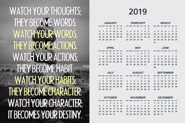 Watch Your Thoughts Buddha Quote Motivational Poster Calendar 12x18 Inch