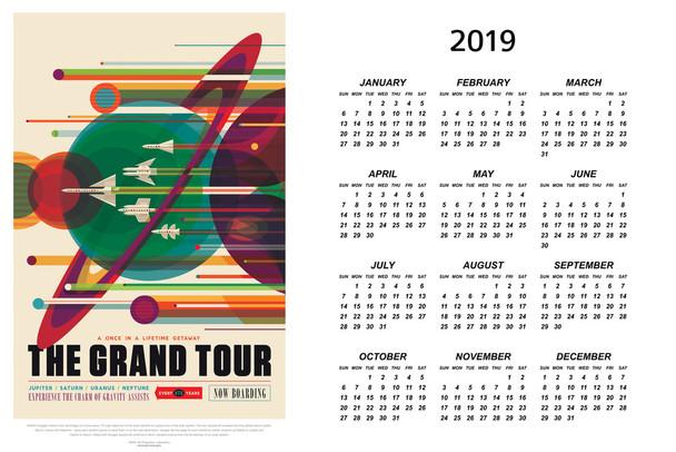The Grand Tour NASA Space Travel 2019 Calendar Poster 12x18 Inch