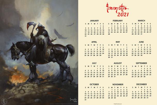 Death Dealer by Frank Frazetta Day Monthly 2021 Wall Calendar Poster 12x18 Inch
