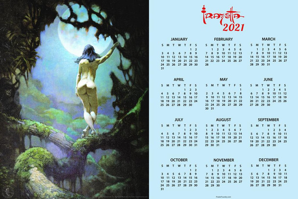 Moon Rapture by Frank Frazetta Day Monthly 2021 Wall Calendar Poster 24x36 Inch