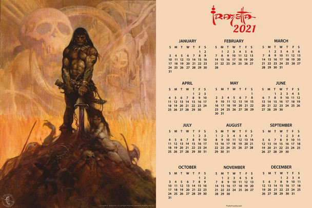 Barbarian by Frank Frazetta Day Monthly 2021 Wall Calendar Poster 24x36 Inch
