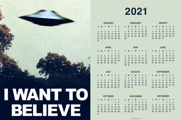I Want To Believe UFO Aliens TV Show Day Monthly 2021 Wall Calendar Poster 24x36 Inch