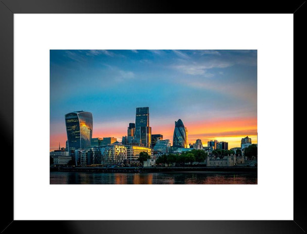 London England Gherkin Thames River Buildings Sunrise Photo Matted Framed Wall Art Print 26x20 inch