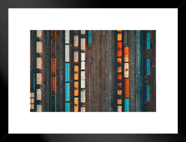 Colorful Freight Trains Car At Railway Station Aerial View Matted Framed Wall Art Print 26x20 inch