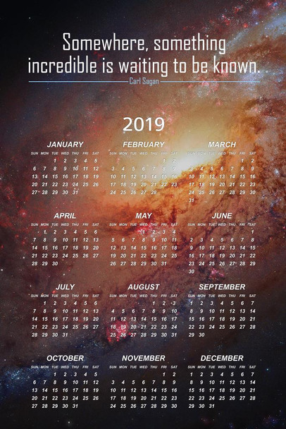 Somewhere Something Incredible is Waiting To Be Known Carl Sagan 2019 Calendar Poster 24x36 Inch